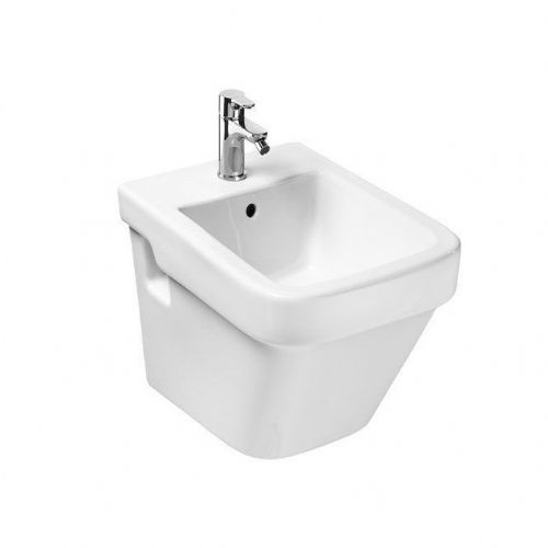 Roca Dama-N Compact Wall Hung Bidet - Soft Close Bidet Cover - 1 Tap Hole - White